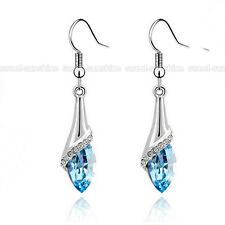 Fashion Jewelry Women Blue Crystal Silver Hook Rhinestone Drop Dangle Earrings