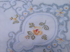 Chic Pure White Embroidery Flower Cotton Tablecloth 140cmx180cm
