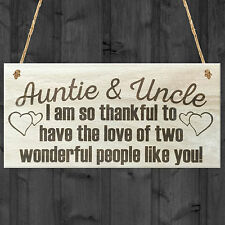 Auntie Uncle Thank You Wooden Hanging Plaque Gift Shabby Chic Love Sign Present