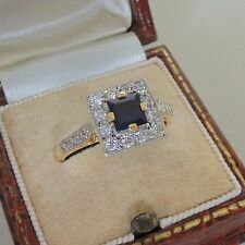 Art Deco 18ct Gold Sapphire and Diamond Ring