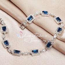 18K White Gold GF Swarovski Crystal Classic Square Royal Blue Tennis Bracelet