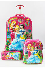 3 Piece Girls 5D Hand Luggage Cabin Trolley Suitcase Travel Bag Kids Princesses
