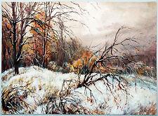 Verschneiter Wald im Abendrot 1940 Aquarell und Gouache  Paul Groß (1873-1942)