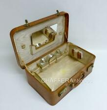 French Pigskin Leather Vanity Travel Case with part contents