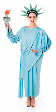Ladies Blue Statue Of Liberty Fancy Dress Costume Womens Outfit UK 10-14