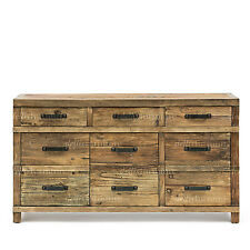 NEW Rustic Recycled Elm Timber & Iron 3 Door 3 Drawer Sideboard Iron Handles