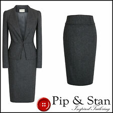 NEW MONSOON UK12 US8 TWEED 50S STYLE GREY WOOL SILK PENCIL SKIRT SUIT WOMEN SIZE