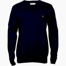 Voi Mens V Neck Long Sleeve Jumper in Charcoal Chest Logo 100% Cotton Size S