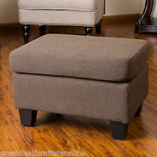 Living Room Furniture Brown Fabric Footstool Ottoman w/ Padded Top