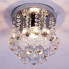 Crystal Droplets Silver Chrome Ceiling Pendant Light Chandelier Fitting Lamp E5