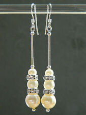 Vintage Glass Pearls, Swarovski Rondelles & Sterling Silver Long Drop Earrings