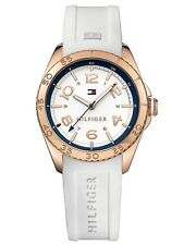 AUTHENTIC TOMMY HILFIGER WOMEN'S SPORT WATCH 1781636 ROSE GOLD WHITE SILICONE