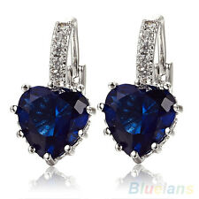 ATTRACTIVE 18K WHITE GOLD PLATED SAPPHIRE BLUE CRYSTAL HEART LEVERBACK EARRINGS