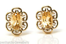 9ct Gold Citrine Studs earrings, Gift Boxed Made in UK