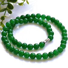 Arab 8mm Green jade round bead Necklace length 45mm