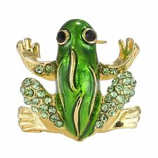 Christmas Rhinestone Crystal Green Animal Frog Brooches Pin Xmas Party Jewellery