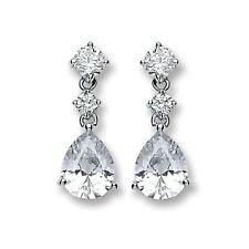 RHODIUM PLATED SOLID 925 STERLING SILVER PEAR CUT STUD & DROP EARRINGS