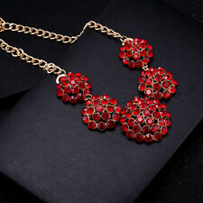 Charm Red Crystal Beads Flower Cluster Pendant Chunky Bib Statement Necklace