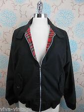 Vintage Men's Black Tartan Lined Retro Punk Skinhead Harrington Bomber Jacket S