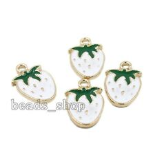 10x Fashion Gold Plated White&Green Enamel Alloy Strawberry Charms Pendants BS