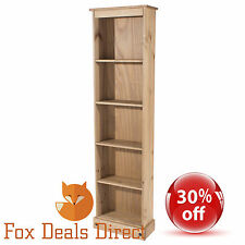 Bookcase Pine PREMIUM CORONA Tall Narrow Shelving & Storage Office Living Room