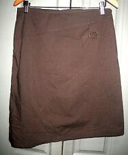 VIntage Cue 10 12 Brown Buckle Up Panel Uneven Hem Cotton Blend A Line Skirt