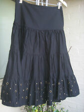Sz 8 WITCHERY black skirt tiered long cotton with brass studs & eyelets details
