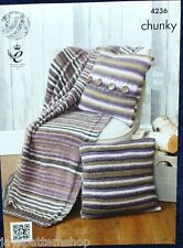 Chunky Knit Easy Knit Blanket & Cushion Cover Knitting Pattern