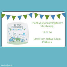24 x Personalised Bunting Baby Shower Christening Stickers Envelope Seals -N505
