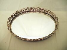 """Vintage 12"""" Gold Color Oval Vanity Tray"""