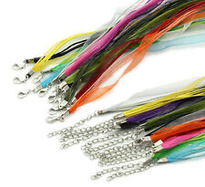 10 Organza Ribbon & Cord Necklaces Mixed Colours Jewellery Making Chains J09766