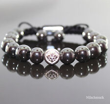 Herren Shamballa Armband/Armreifen Grau Metallic Hämatit Beads, für Männer