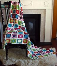 "Hand Crochet Granny Square Baby Blanket /TableCloth NEW 40""SQ/100cmSQ 100% Cotn"