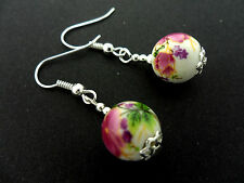 A PAIR OF LOVELY  SILVER PLATED PORCELAIN FLOWER  BEAD EARRINGS. NEW.
