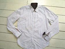 Peter Werth brown & white embossed stripe CUFFLINK shirt Size 4 (L)