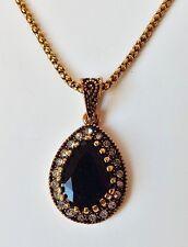 Halskette Kette Collier Vintage Barock Amulett Tropfen Strass schwarz antikgold