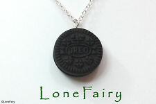 """Polymer Clay Oreo Biscuit Silver Plated Chain Necklace Food  Kitsch 18"""""""