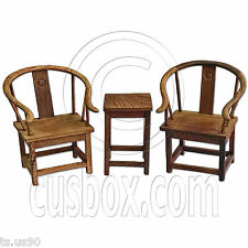 Set Raw Wenge Wood Chinese Round Armchair Tea Table 1:6 Scale Doll's Furniture