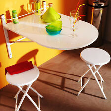Drop Leaf Table Stools Wall Mounted Folding White Breakfast Set 3pc Kitchen Room