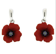 Beautiful Silver  & Red Rhinestones Poppy Flower Symbolic Drop Earrings E872