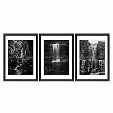 Black and White framed prints glazed x 3 Waterfall Scenic Rocks River Mystical