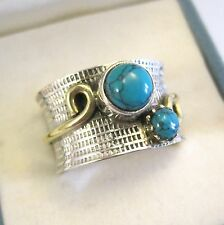 Solid 925 Sterling Silver Turquoise Wide Band Ring. Copper Detail. Size P.