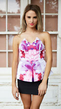 Womens Harper Floral Strapless Peplum Top from Two Sisters - Size 8