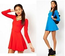 MOTEL SASKIA SKATER DRESS RED LONG SLEEVES UK L/14