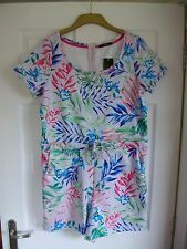 BNWT White with pink/blue/green floral print summer waist tied play-suit SIZE 12
