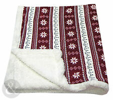 Alpine Nordic Throws - Luxury Thick Fleece Bed / Sofa Double Wine Red Throw Over