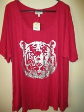 BNWT Womens Autograph Pink Silver Foil Print Tiger Top Size Fit 18 To 20