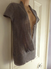 Oasis size 10 very delicate ethereal grey thin open knit mohair blend top