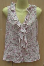Ladies Cream & Pink Floral Cotton Sleeveless Blouse Top by TU Size 10 VGC