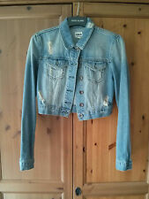 ASOS Jean Jacket 10 Denim Cropped Distressed/Ripped Look Blue SOLD OUT!